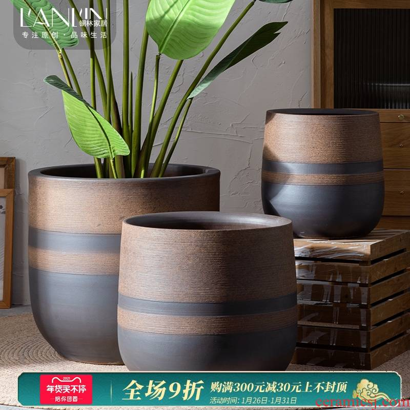 Ceramic POTS super - large retro nostalgia creative landscape flower arranging hydroponic sitting room ground indoor decorative furnishing articles package mail
