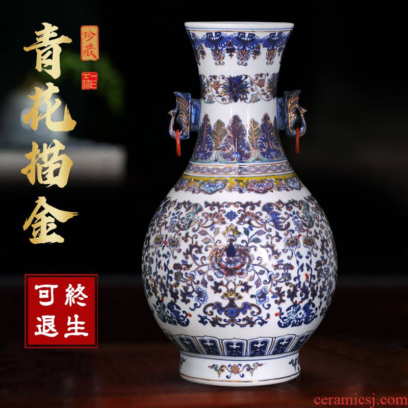 Jingdezhen ceramics antique Chinese blue and white porcelain vase Chinese style living room TV cabinet porch is decorated furnishing articles gifts