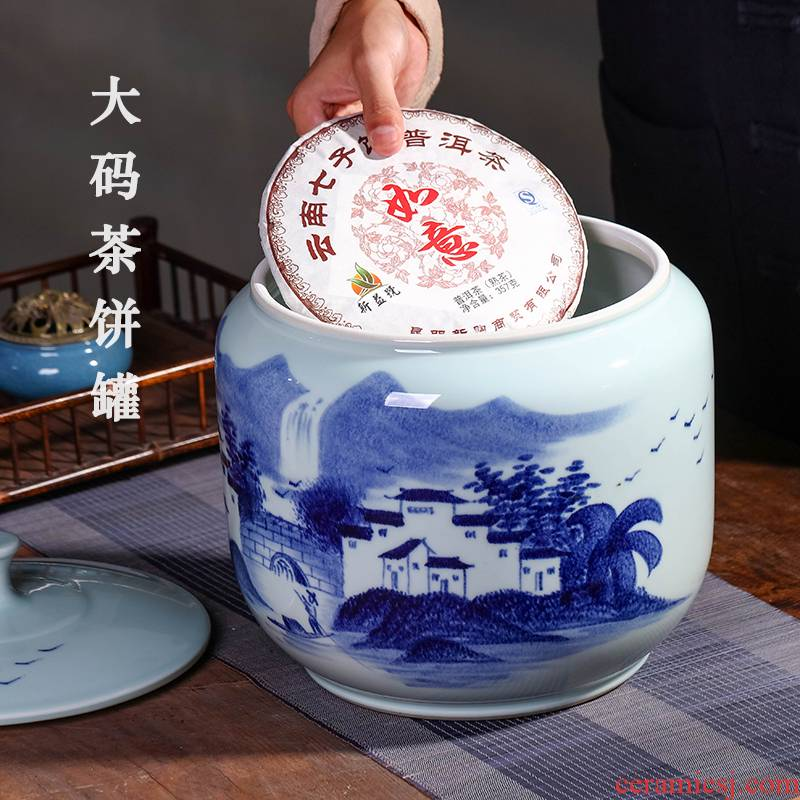 Jingdezhen hand - made old white tea ceramic tea pot furnishing articles seven big yards cake storage POTS dried fruit snacks storage tank