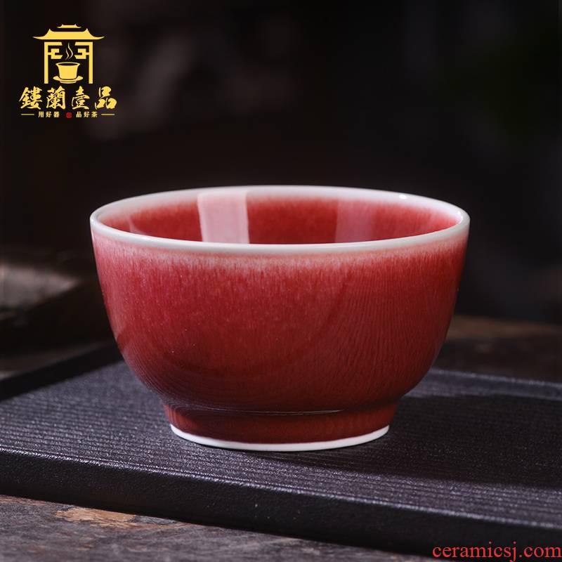 Jingdezhen ceramics craft kung fu tea set ruby red glaze small cups personal special tea master cup single CPU