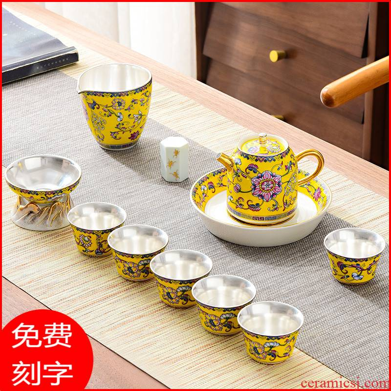 Jingdezhen colored enamel silver tea set with high - end office receives a visitor coppering. As kung fu tea set 999 sterling silver set