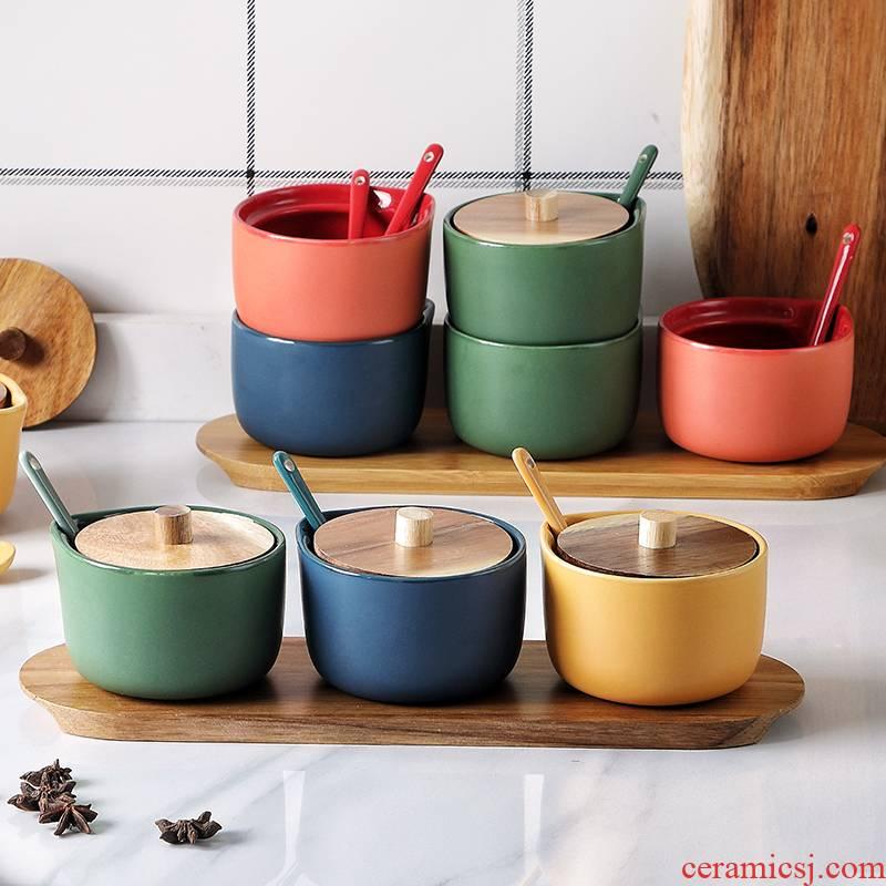 Creative ceramic flavor pot three - piece household acacia wood seasoning sauce can suit ceramic pot of salt