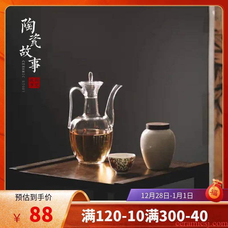 The Story of pottery and porcelain imitation song dynasty style typeface ewer pure manual with thick transparent glass tea set high temperature burn blisters teapot small single pot