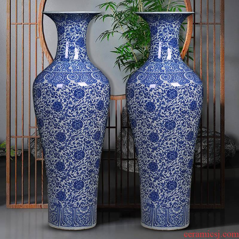 Blue and white porcelain of jingdezhen ceramics vase to heavy Chinese style hotel opening gifts large ground adornment furnishing articles