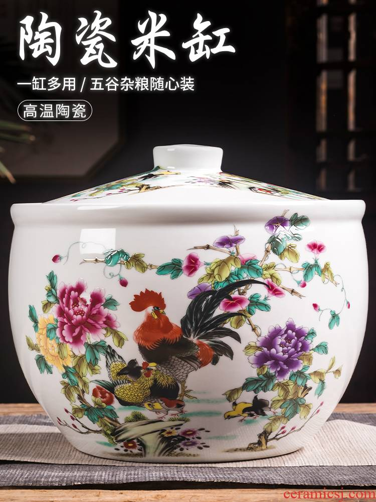 Jingdezhen ceramic barrel filling ricer box with cover 10 jins 20 jins home moistureproof insect - resistant storage tank cylinder surface of barrels of oil box