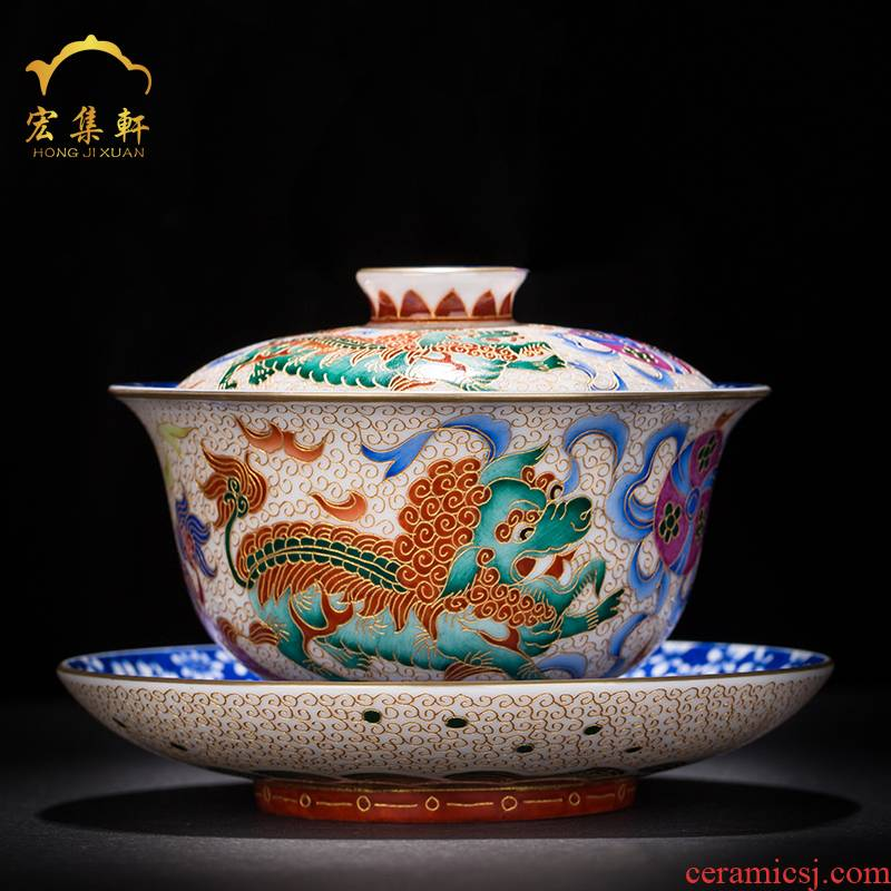 Only three tureen jingdezhen blue and white flower is hand - made ceramic cups all hand lion kirin colored enamel tea bowl