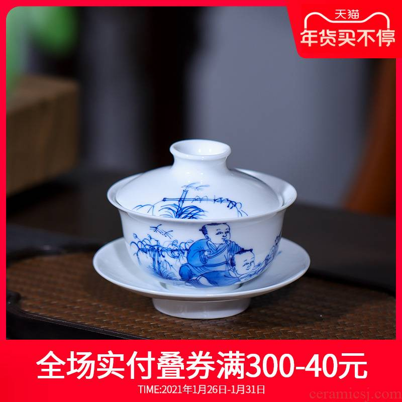 Hand - made of rural music tureen jingdezhen ceramic tea set three to a cup of blue and white porcelain new one individual cups is not hot