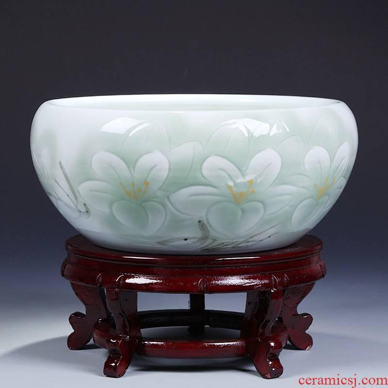 2019 ceramics goldfish bowl water lily shallow tortoise cylinder furnishing articles lotus basin custom make sitting room