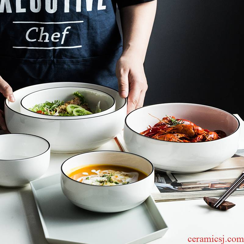 Contracted tableware ceramic bowl, black line salad bowl creative rainbow such use thick soup bowl Nordic big bowl of soup bowl a single breakfast