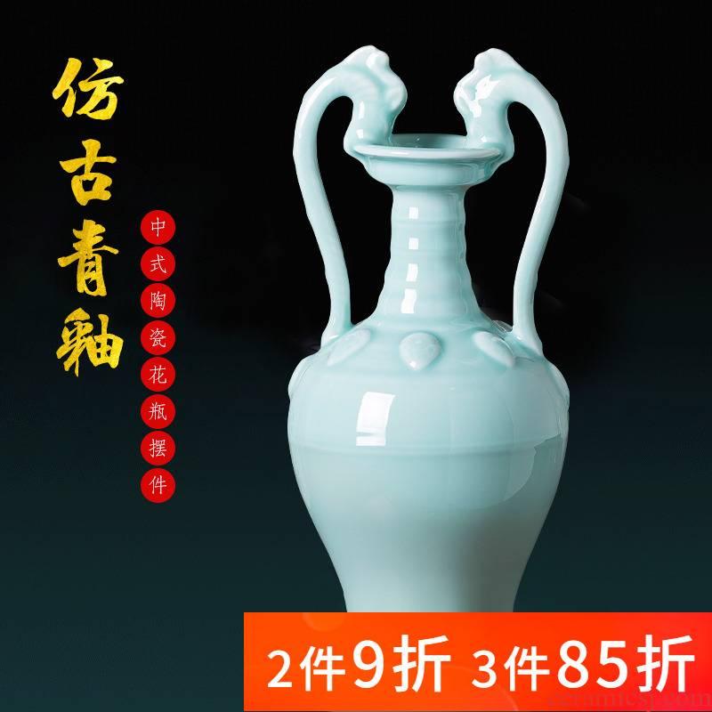 Jingdezhen porcelain ceramic imitation the qing yongzheng blue glaze ears of new Chinese style household adornment furnishing articles porcelain vase