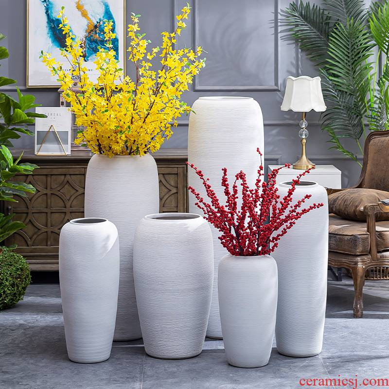 I and contracted living room ceramic dry flower ceramic flower vases Nordic ins furnishing articles large coarse pottery restoring ancient ways