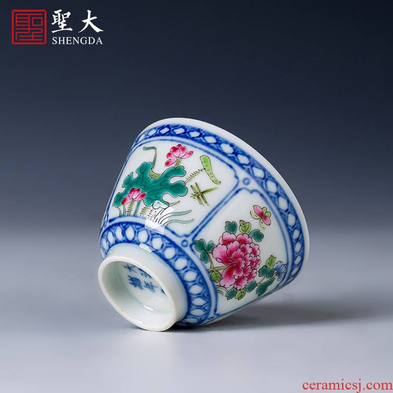 Holy big blue and white window teacups hand - made ceramic kungfu pastel spring, summer, autumn and winter masters cup of jingdezhen tea service by hand