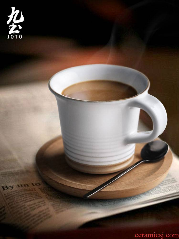About Nine Japanese ceramic coffee cup thick clay soil white mark cup of cup with a cup of tea cups couples home for breakfast