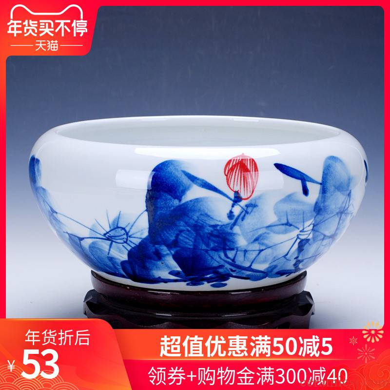 416 jingdezhen porcelain hand draw freehand brushwork in traditional Chinese ceramic goldfish bowl of water shallow tortoise cylinder water lily refers to basin of lotus furnishing articles