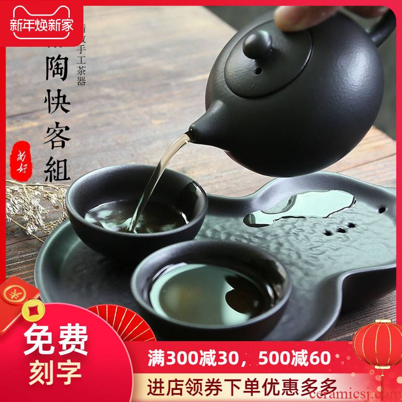A pot of two cups of black zen portable travel kung fu tea set crack cup with ceramic creative office tea tea tray