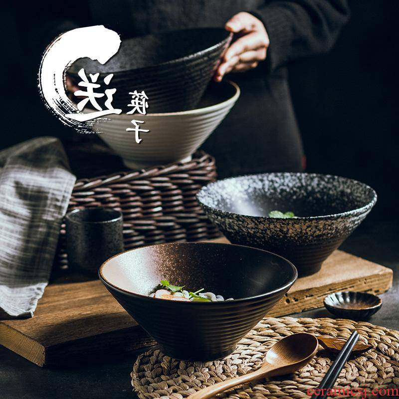 The Japanese kitchen ceramic bowl household size pull rainbow such as bowl bowl noodles soup bowl creativity tableware suit ltd. bucket