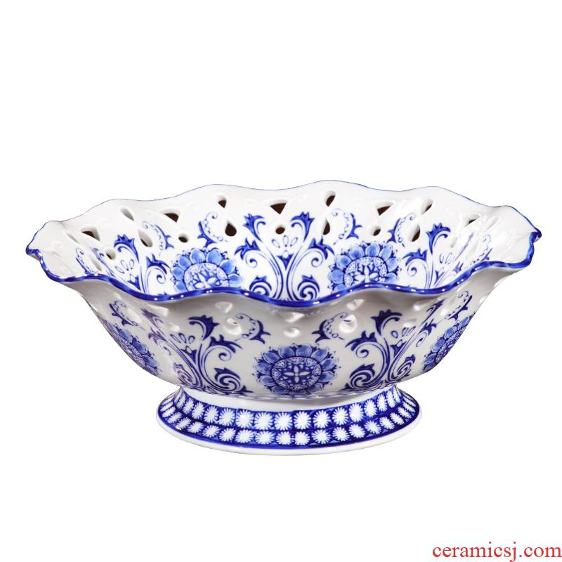 P6 furnishing articles manual creative fruit bowl of blue and white porcelain of jingdezhen ceramics new Chinese style household, sitting room tea table decoration