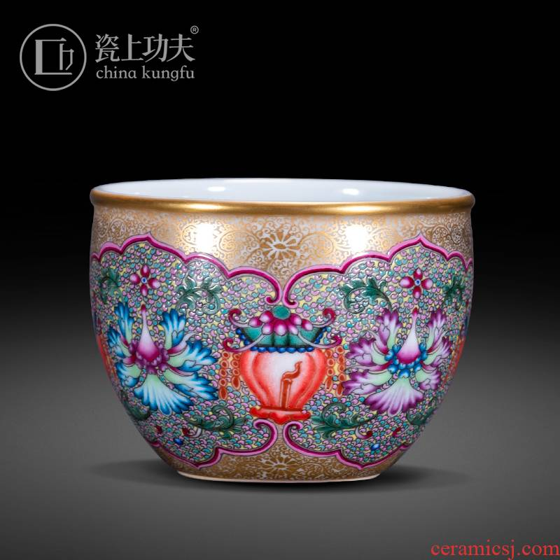 Flowers colored enamel porcelain on kung fu bao phase master cup single cup of jingdezhen ceramic cup sample tea cup by hand