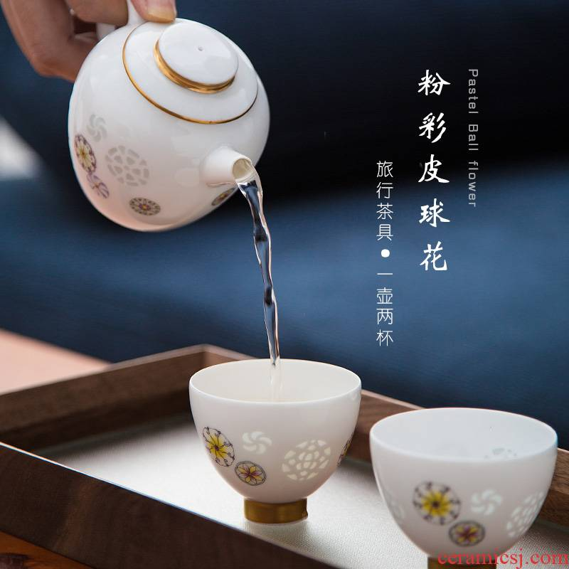 Jade BaiLingLong travel was a pot of two cups of jingdezhen famille rose porcelain teapot teacup compact ball