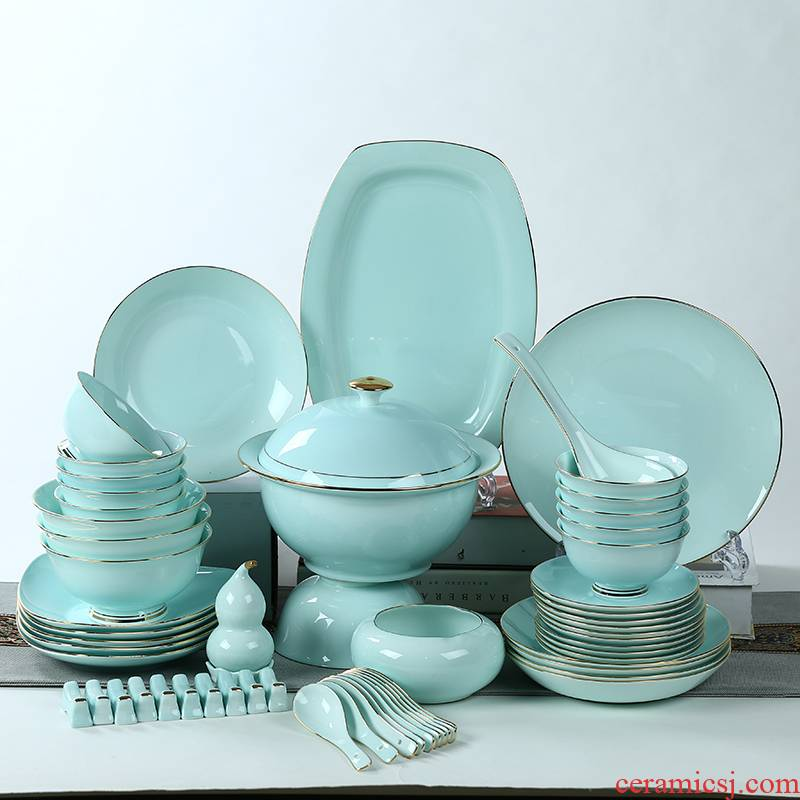 Ipads bowls dish suits for home dishes spoon combination creative up phnom penh celadon bowls of jingdezhen ceramic plate