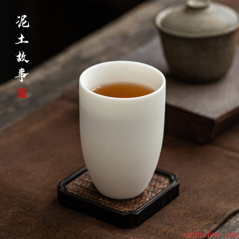 Dehua white porcelain biscuit firing hand made of pure white jade porcelain office cup of individual men and women drinking glass cup cup high - grade a warm hand