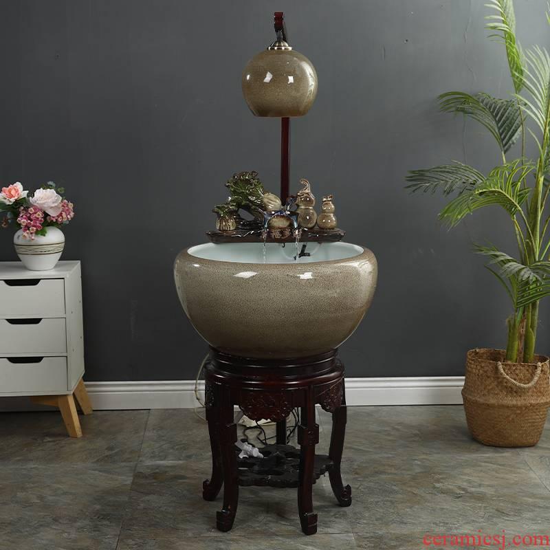 Package mail up with jingdezhen ceramic filter aquarium household process water tank feng shui plutus raising goldfish bowl