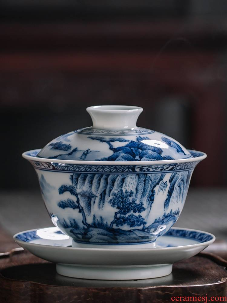 Tureen firewood jingdezhen blue and white porcelain tea set manually only three blue and white landscape Tureen ceramic cups hand - made teacup