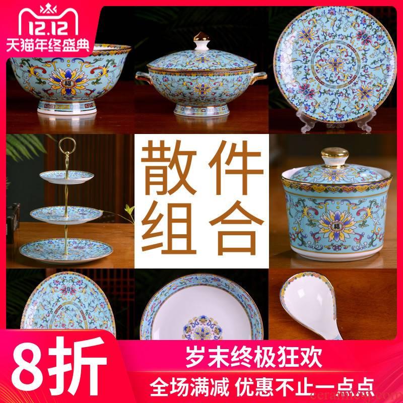 Jingdezhen ceramic bowl Chinese style household bowls of ipads plate tableware custom suit enameled bowl palace hotel restaurants