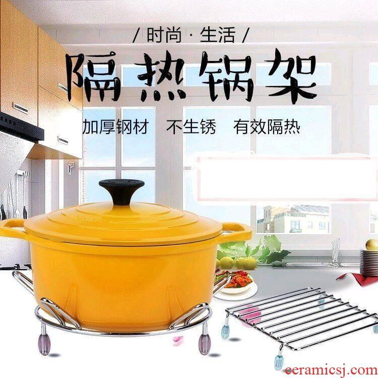 Scene wishful pot pad plane triangle insulation kitchen shelf bold POTS of soup pot fry pan base hearth put