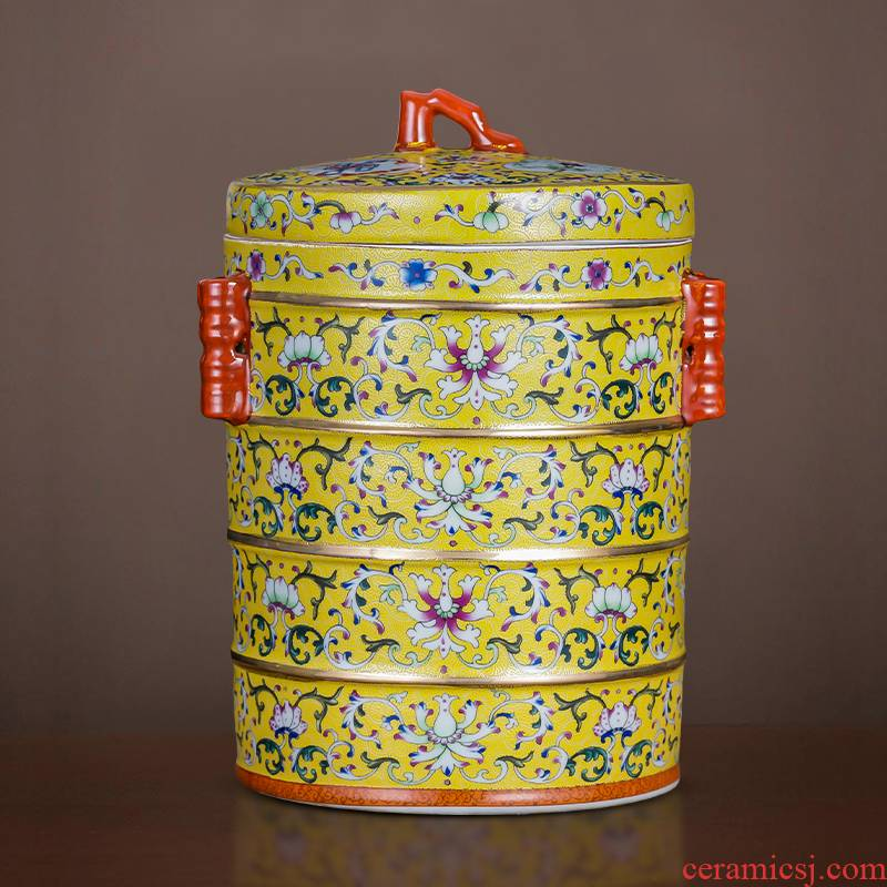Jingdezhen ceramic tea pot enamel see colour 2 jins of restoring ancient ways with puer tea cake as cans with cover seal storage tank furnishing articles