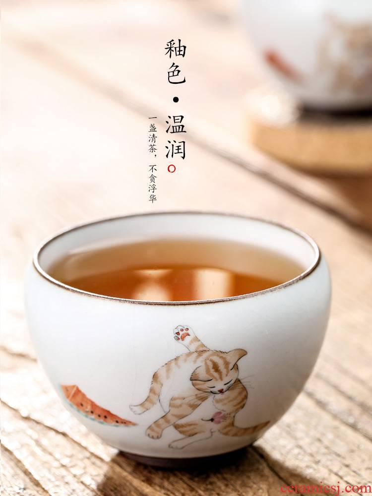 Your up hand - made master kung fu tea cup pure manual jingdezhen ceramic sample tea cup cup single CPU single cats tea sets
