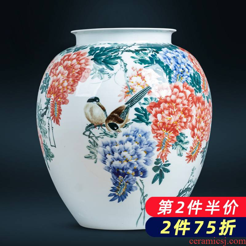 Jingdezhen ceramics hand - made gulp decorative vase sitting room of Chinese style household porcelain exhibition hall office furnishing articles
