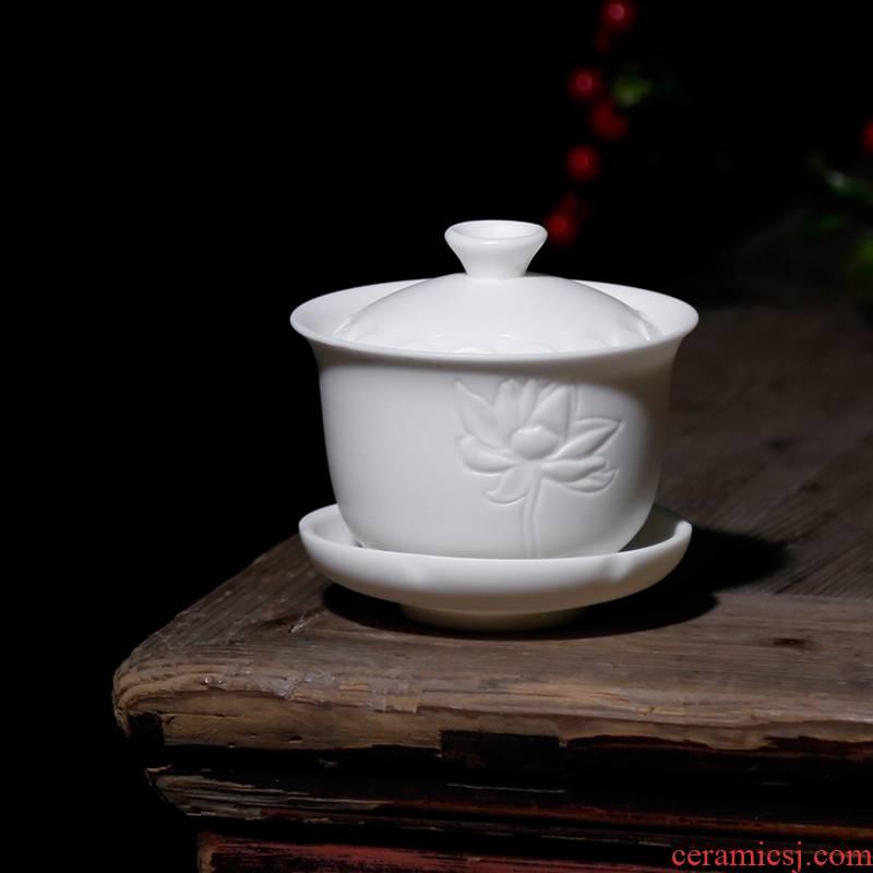 Qiao mu PMZ dehua high - white manual archaize generation lotus tureen ceramic tea cup tea implement three of the bowl