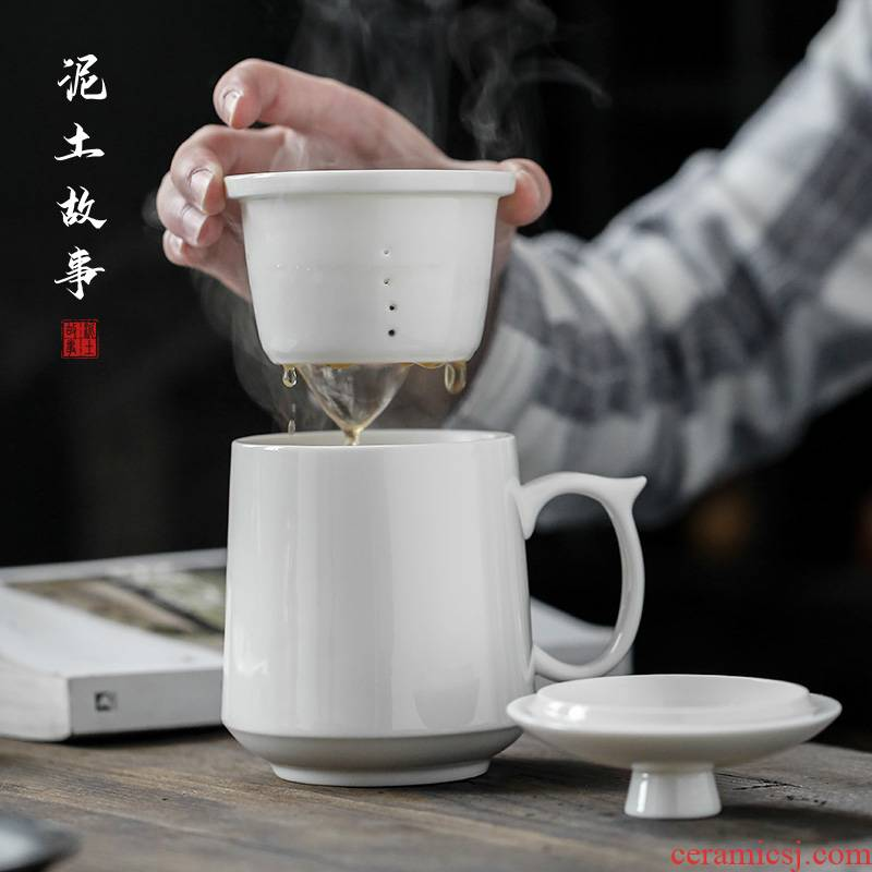 Dehua lard white porcelain tea cups with cover bladder personal office glass ceramic keller sample tea cup masters cup