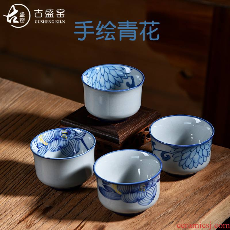Ancient antique hand - made sheng up xiangyang violet blue pressure hand of kung fu tea lotus master cup ceramic checking
