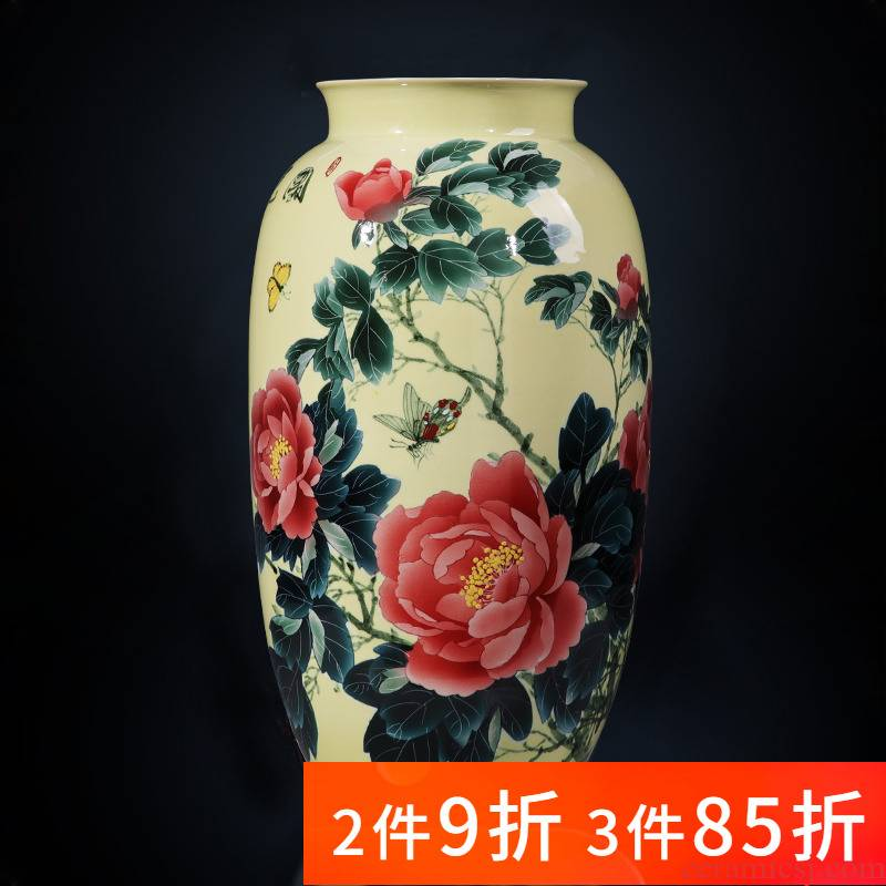 Jingdezhen porcelain ceramic hand - made pastel peony large vase landed furnishing articles sitting room of Chinese style household ornaments