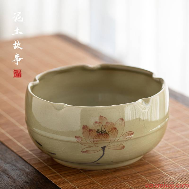 Jingdezhen hand - made lotus ice to crack the up ceramic tea wash your bowl is domestic large capacity water jar is large porcelain writing brush washer