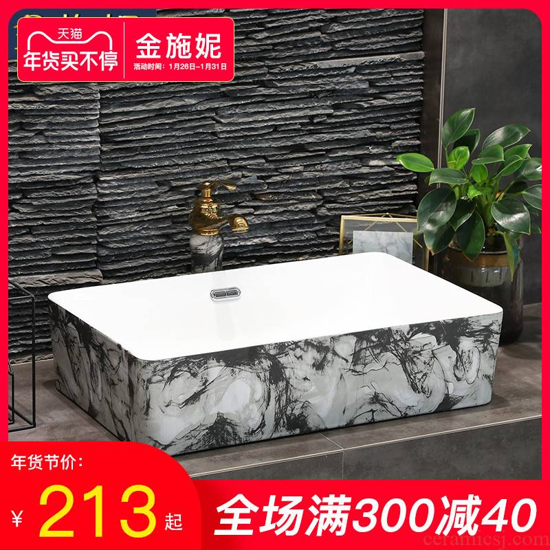 Gold cellnique art ceramics stage basin ink lines simple household bathroom sink size lavatory much money