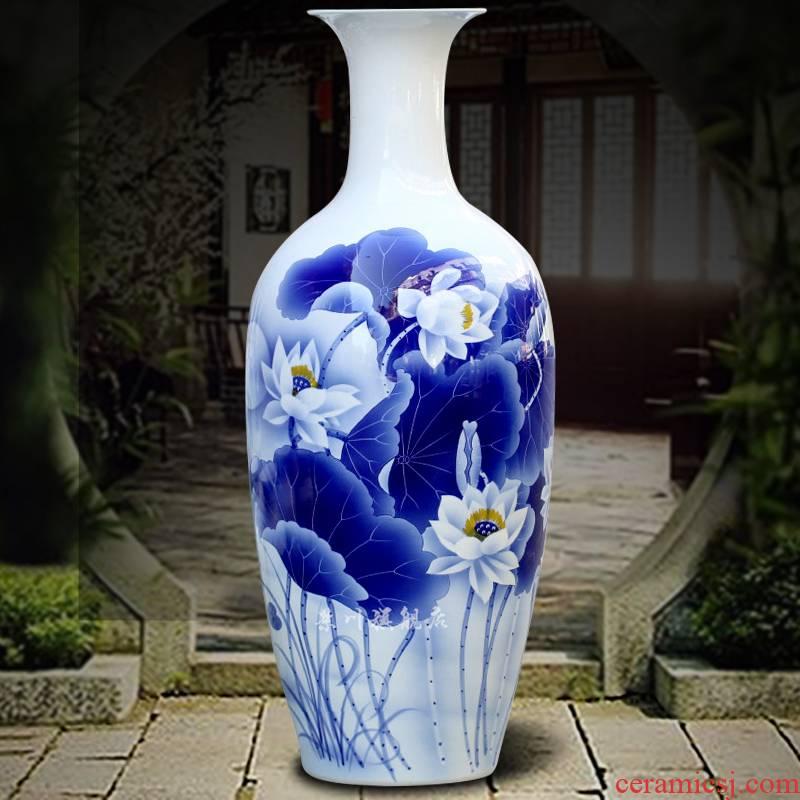 Jingdezhen hand - made of lotus pond moonlight landing big vase 90 cm high home sitting room hotel adornment furnishing articles