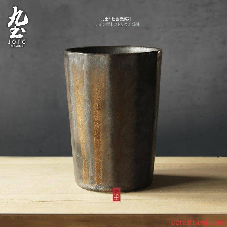 Wining about nine soil surface line mark cup coffee cup move variable gold glaze ceramic tea cup tea cup restoring ancient ways
