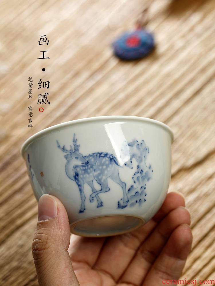 Blue and white hand kung fu masters cup single cup pure manual jingdezhen ceramic tea set single cup bowl sample tea cup