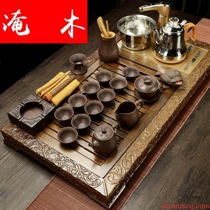 Flooded wenge wood tea tray was solid wood one Chinese style household violet arenaceous kung fu tea tea tea service of a complete set of suits for