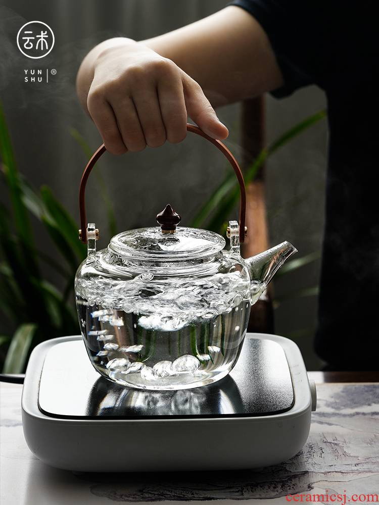 Cloud high - temperature operation household cooking pot high - capacity thickening glass pot cooking double bile electric TaoLu steaming kettle girder
