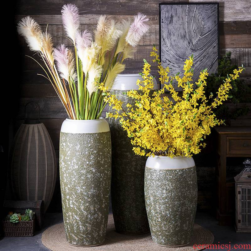 Manual coarse pottery restoring ancient ways of large sitting room dry flower hotel pottery decoration vase simulation flower art furnishing articles
