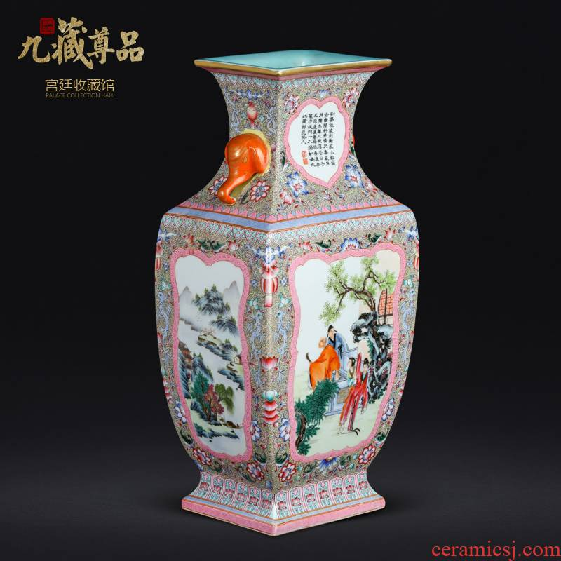 Jack the qing qianlong GuYueXuan window landscape with Chinese style living room decoration vase of jingdezhen ceramics furnishing articles