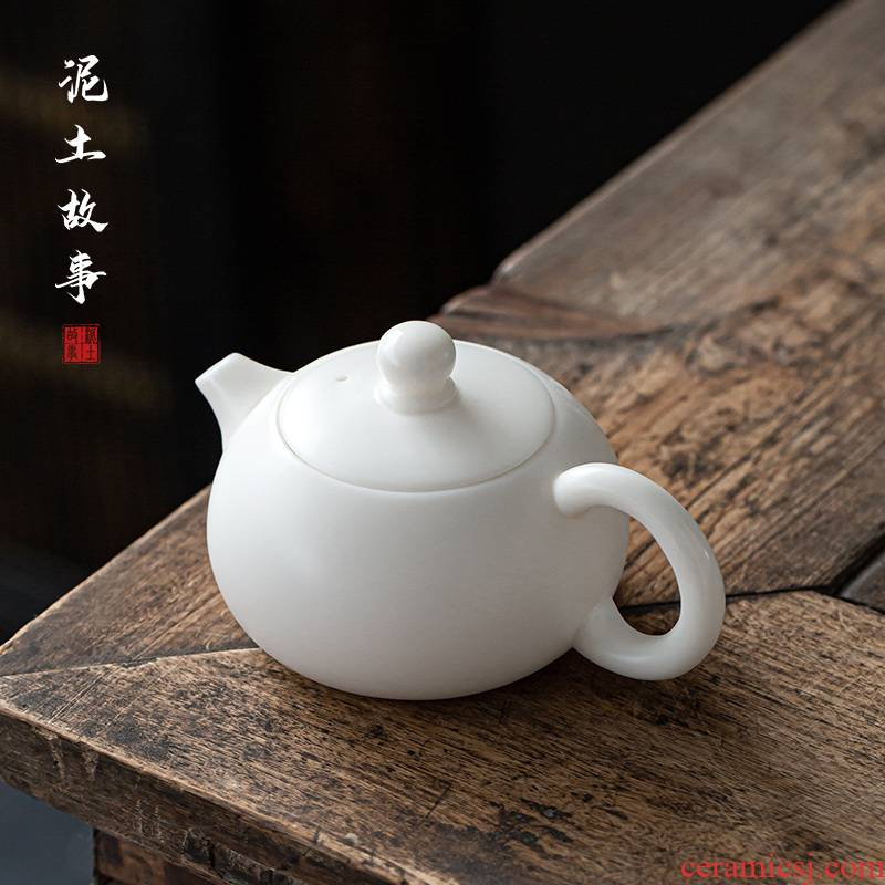 Suet jade dehua white porcelain craft xi shi pot of Suet jade ceramic biscuit firing kung fu tea set household little teapot