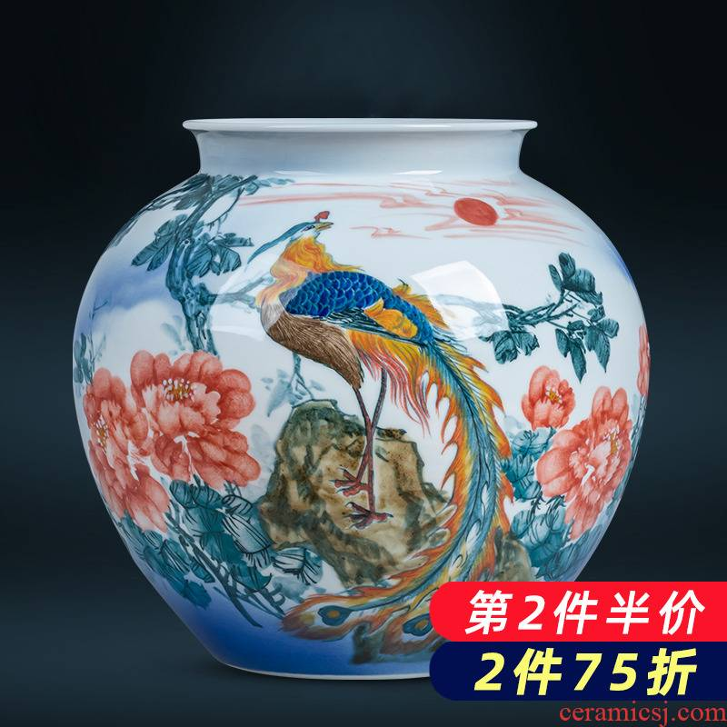 Jingdezhen ceramics hand - made of red phoenix in morning sun big vase furnishing articles of new Chinese style home sitting room adornment