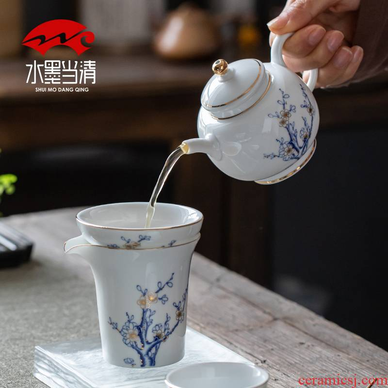 Jingdezhen blue and white porcelain tea set ceramic kung fu tea kettle upscale gift boxes home office