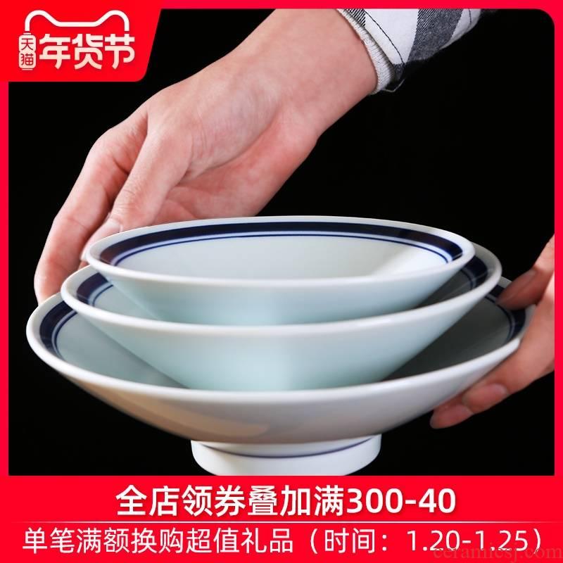 Jingdezhen ceramic bowl under the glaze color household Japanese hat to ramen soup bowl large salad bowl contracted tableware restoring ancient ways