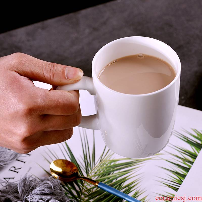 Pure white ipads China cups milk tea cup keller cup household jingdezhen ceramic cup milk coffee cup